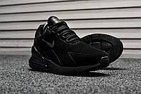 Мужские зимние кроссовки на меху Nike Air Max 270 Black Suede