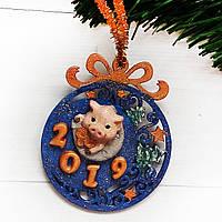 Свинка символ 2019 года Елочная игрушка – подвеска «Новогодний шар»  Подарки к новому году, фото 1