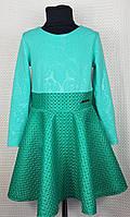 Подростковое нарядное платье Бомба клеш  неопрен р. 122-140 мята, фото 1