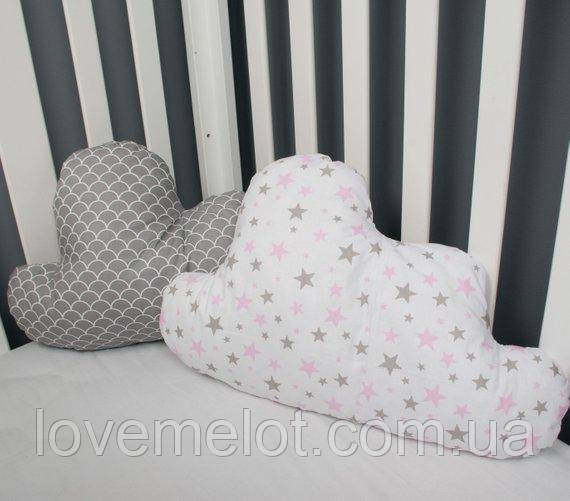"""Декоративные подушки в форме облака """"Облачко"""" в серо-белой гамме,набор 2 шт"""