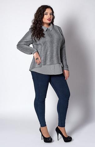 """Жіноча кофта-сорочка """"Мей"""" розмір 56 сіра в ромбик, фото 2"""