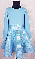 Подростковое нарядное платье Бомба клеш  неопрен р. 122-140 голубой