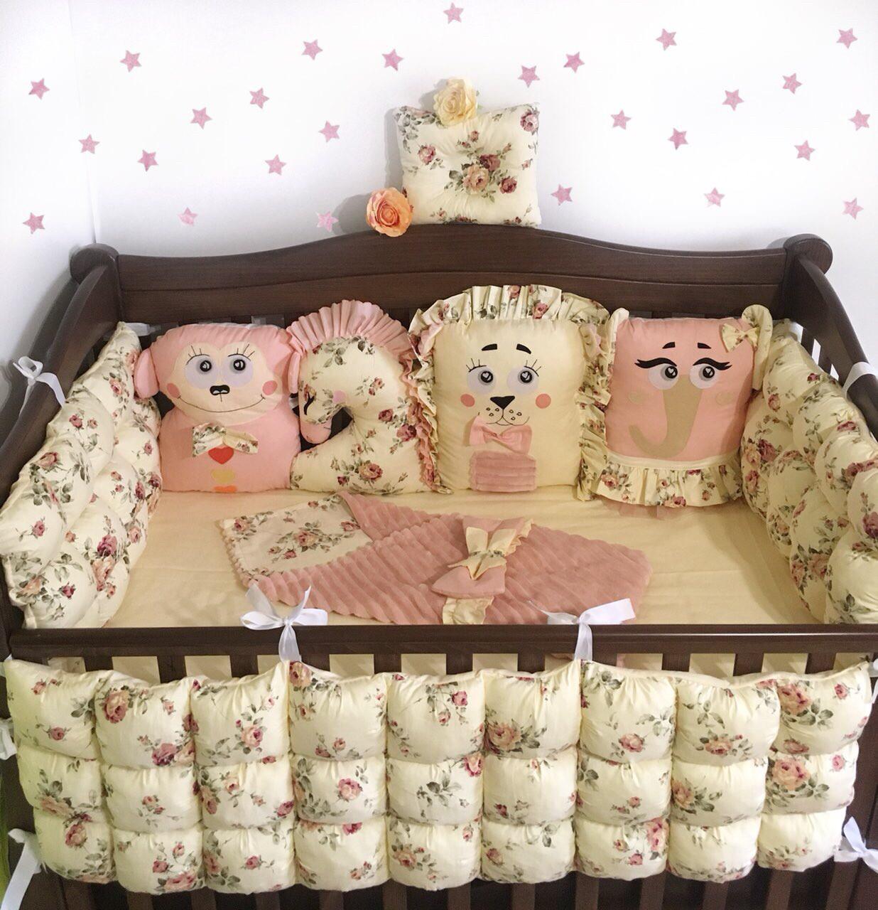 Комплект для ліжечка: бортики захист для новонароджених + постільна білизна «Тваринки»