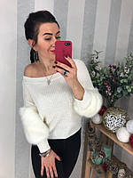 Белый свитер с меховым декором, фото 1