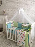 Комплект в кроватку (бортики - подушки) Baby Design Дино (натуральный наполнитель - ekotton), зеленый