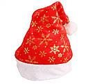 Шапка Деда Мороза со снежинками красная 12 шт/уп, фото 3