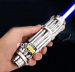Лазерная указка YX B017 —  Мощный лазер с 5 насадками, яркий синий лазер