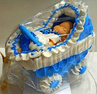 """Сахарное украшение для торта """"Малыш в коляске"""" мальчик"""