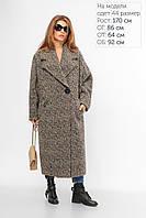 (6233) Стильное Пальто свободного кроя 52 (арт. 2-473L серо-коричневый 52)