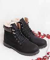 Черные ботинки женские зима на шнуровке 30606