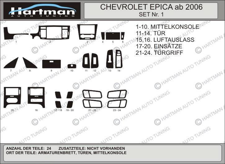 Накладки в салон (kit-1) - Chevrolet Epica 2006+ гг.