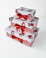 Прямоугольный новогодний комплект коробок ручной работы красно-белого цвета с подарочными коробками