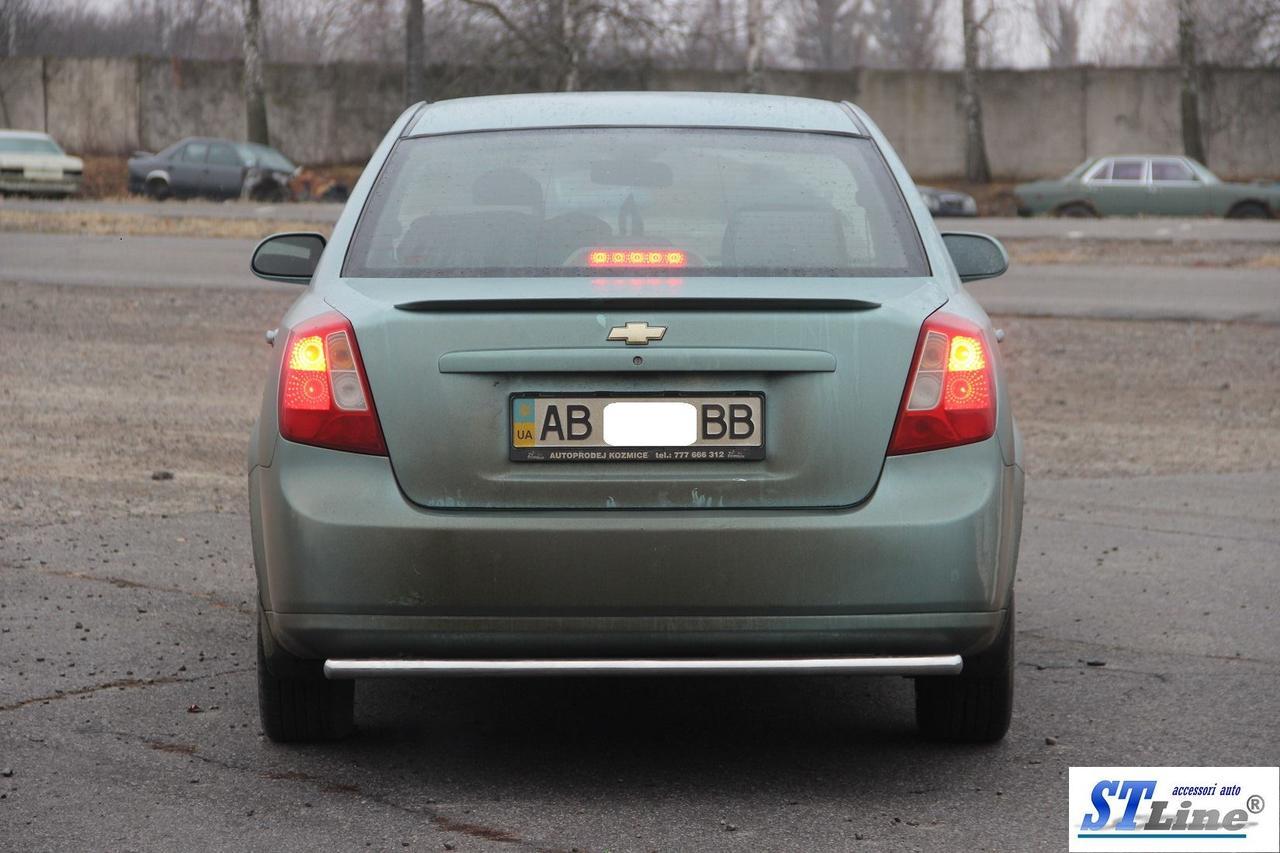 Задняя защита AK002 (42мм, нерж.) - Chevrolet Lacetti