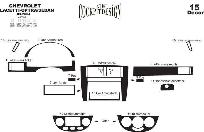 Накладки на панель Sedan (Meric) - Chevrolet Lacetti