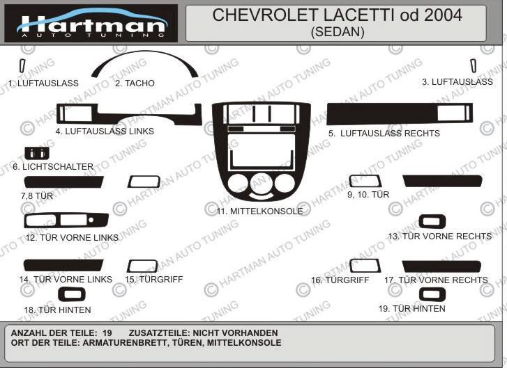 Накладки на панель Sedan (Hartman) - Chevrolet Lacetti