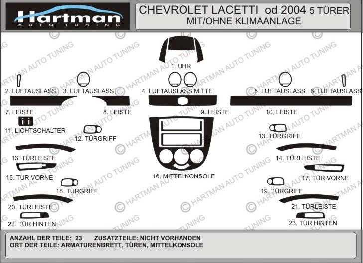 Накладки на панель Hatchback (Hartman) - Chevrolet Lacetti