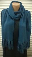 Бирюзовый шарф палантин с бахромой