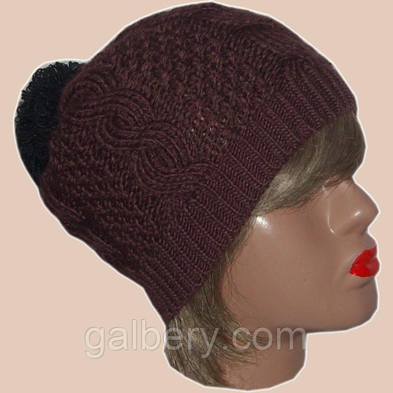 Жіноча шапка біні об'ємної ручної в'язки