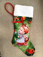 ЧХ-2. Пошитий новорічний чобіток з хутром, під вишивку