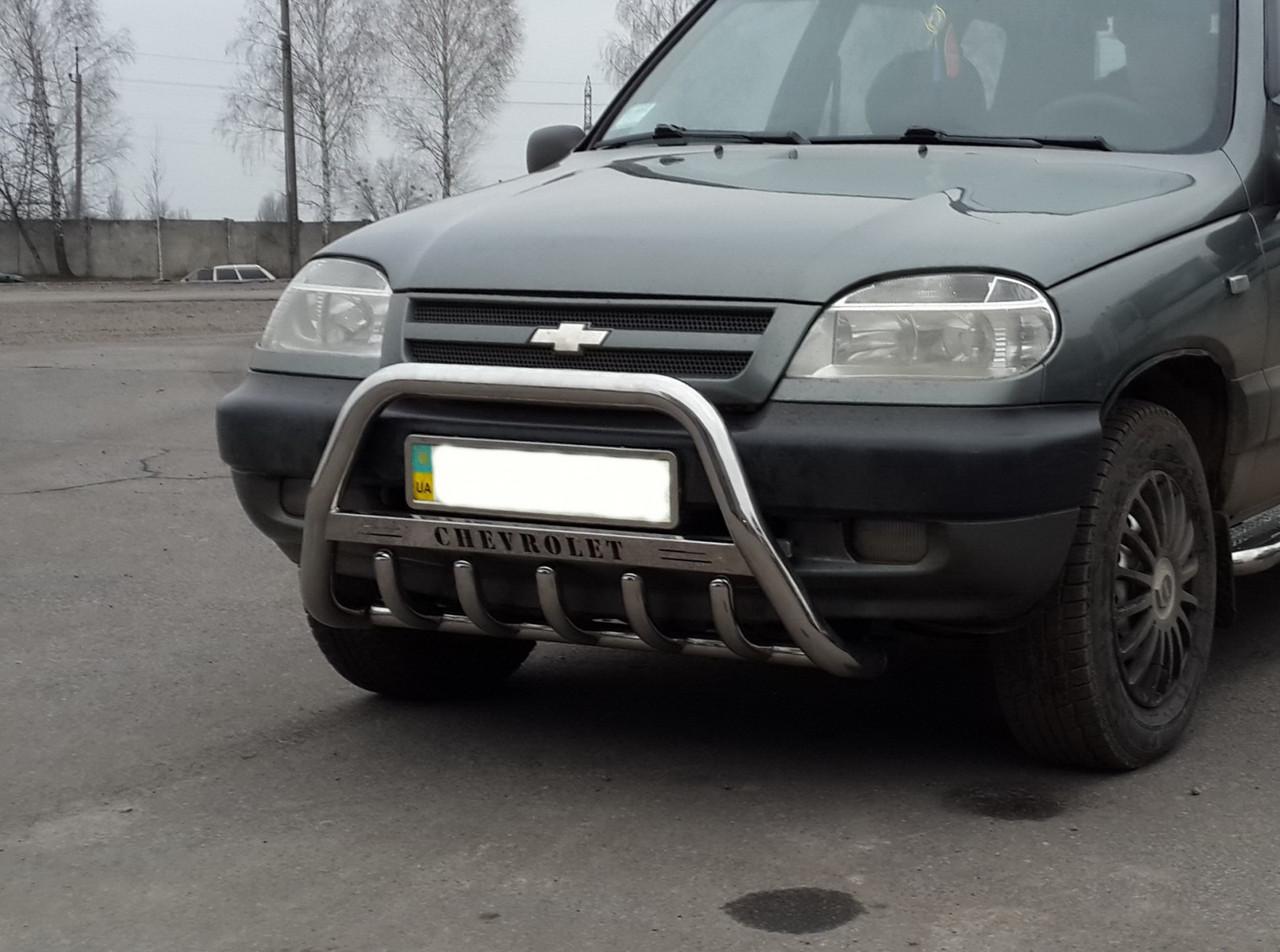Кенгурятник WT004 (нерж) - Chevrolet Niva