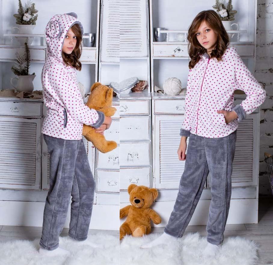 """Детский махровый пижамный костюм подросток 163 """"Горошек Ушки"""" в расцветках"""