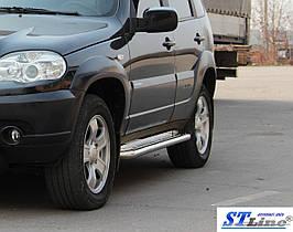 Боковые площадки Premium (2 шт, нерж) - Chevrolet Niva