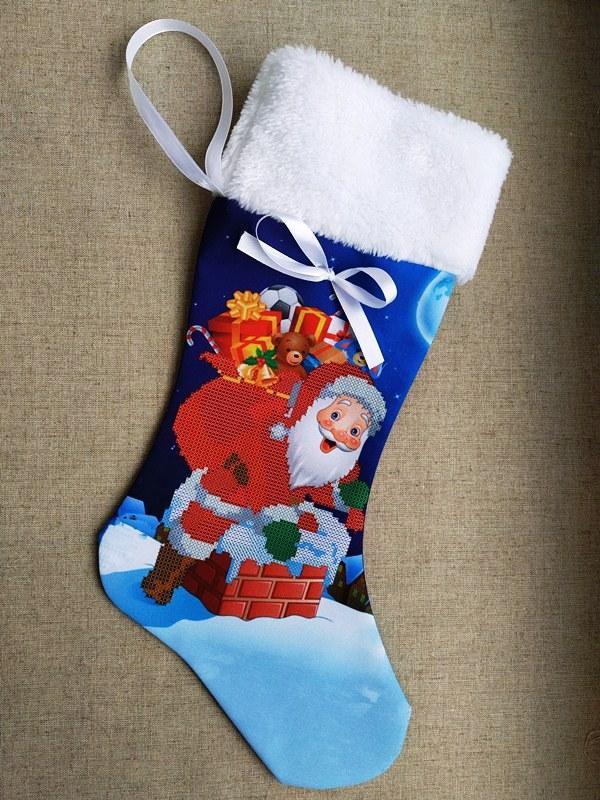 ЧХ-11. Пошитий новорічний чобіток з хутром, під вишивку