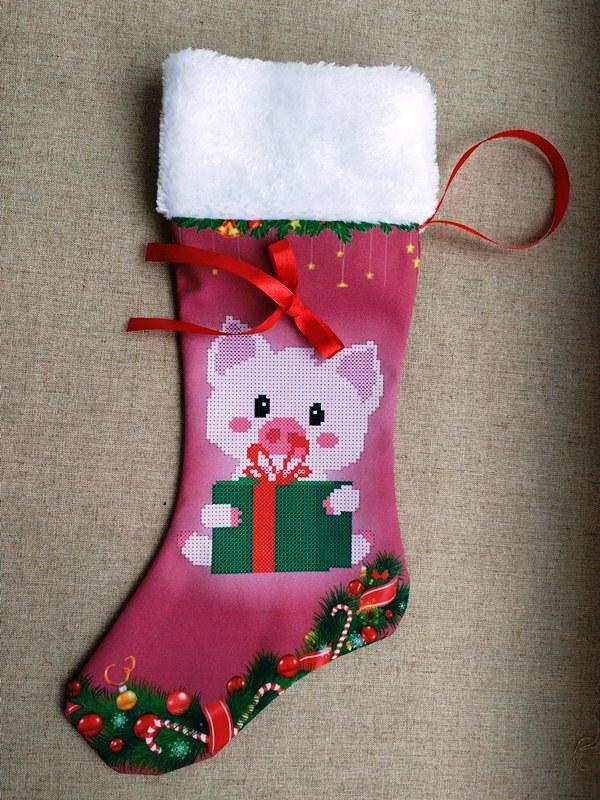 ЧХ-10. Пошитий новорічний чобіток з хутром, під вишивку