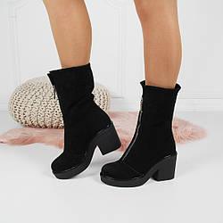 Зимние ботинки - ботинки спереди змейка, широкий каблук 8,5 см, черный, натуральный замш, р. 36-40