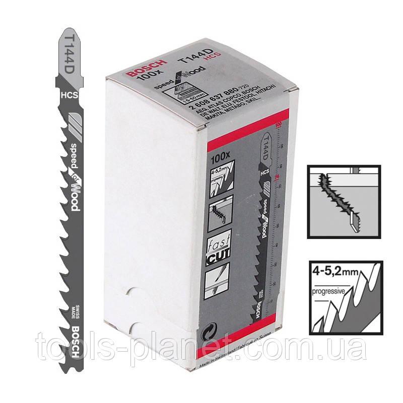 Пилка для лобзика Bosch T 144 D, HCS 100 шт/упак.