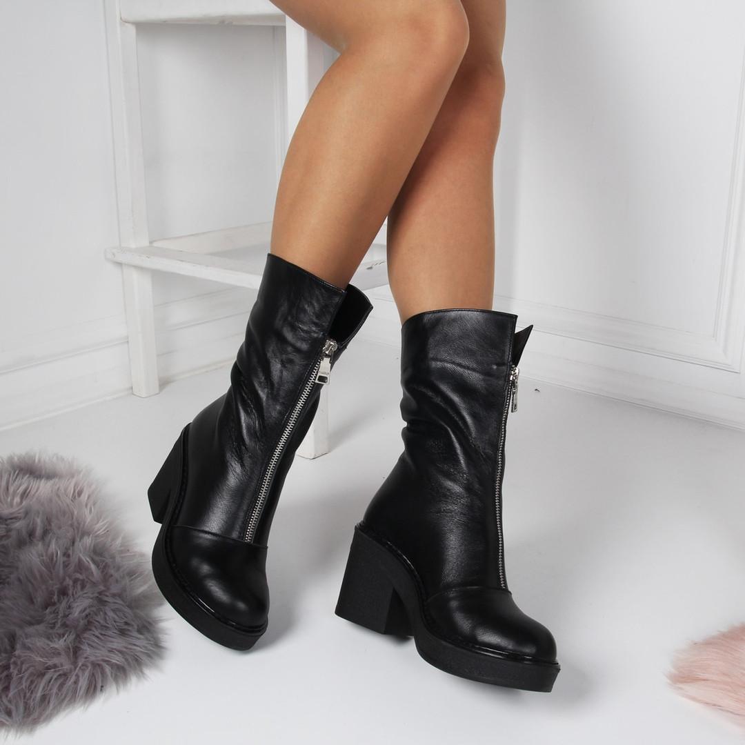 2d3772611 Зимние ботинки - ботинки спереди змейка, широкий каблук 8,5 см, черный,  натуральная кожа, р.