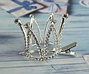 Корона в камнях на заколке уточке серебристая, фото 3
