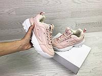 Подростковые зимние кроссовки Fila 6798 розовые с белым, фото 1