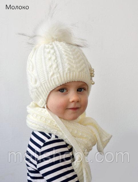 Теплая зимняя шапка с помпоном девочке, фото 1