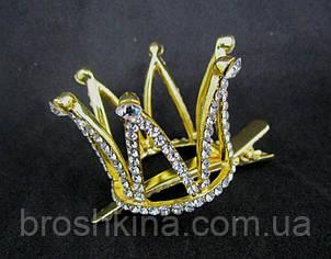 Корона в каменях на шпильці качечка золотиста