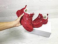 Подростковые зимние кроссовки Fila 6799 красные, фото 1