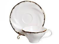 """Фарфоровый чайный набор на 6 персон """"Золотая волна"""" 264-016"""