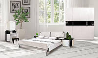 Спальня Флавер (Черный / Белый) 1,80 м. с шухлядами (раскомплектовуется)