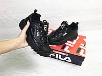 Подростковые зимние кроссовки Fila 6801 черные, фото 1