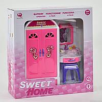 Игровой набор мебели 2529 Р шкаф, туалетный столик, свет, звук, на батарейке для девочек от 3 лет