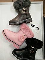 Детские зимние ботинки с мехом для девочек Размеры 25-30, фото 1