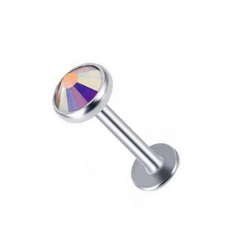 Лабрет для пирсинга из титана с мультицветным фианитом