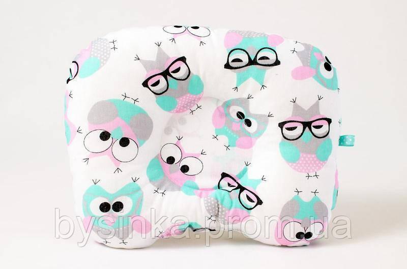 Детская ортопедическая подушка BabySoon Розовые совушки в очках 22 х 26 см (544)