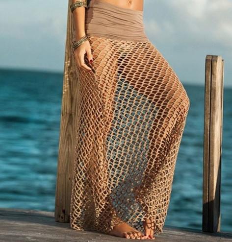 Пляжная юбка бежевая - 42-46 размер, длина 100см, 100% полиэстер