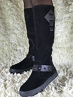 Женские зимние сапоги из натуральной замши на платформе (зима-евро мех)