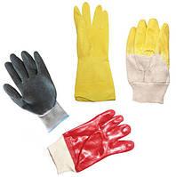 Перчатки рабочие резиновые (нитрила, PVC, латексные)