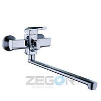 Смеситель для ванны с душем Zegor NOF7 (NOF7-A033) однорычажный с длинным гусаком цвет хром