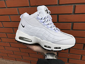 Кроссовки зимние женские в стиле Nike Air Max 95 белые, фото 3