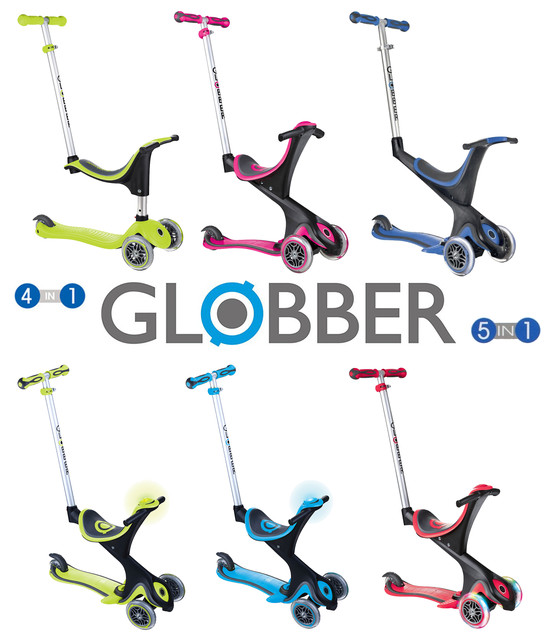 Самокаты Globber Go Up Sporty Lights 4in1, Deluxe Play, Comfort Lights 5in1 (от 1 до 9 лет)
