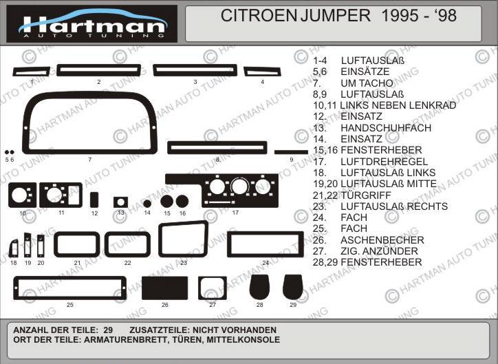 Накладки на панель (Hartman, 1995-2002) - Citroen Jumper 1995-2006 гг.